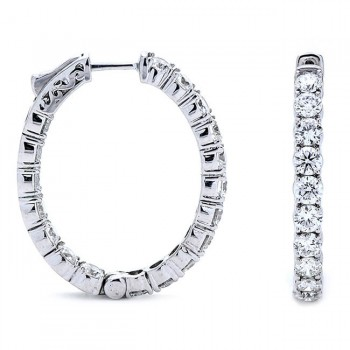 18K White Gold Diamond Hoops