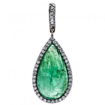 18K Black Rhodium Cabochon Emerald Pendant
