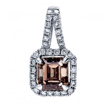 18K White Gold Brown Diamond Pendant