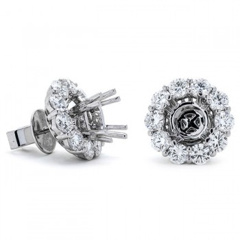 18K White Gold Semi-Mount for Round Center Studs