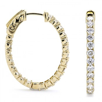 18K Yellow Gold Diamond Hoops