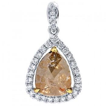 18K Two-tone Gold Fancy Diamond Slice Pendant