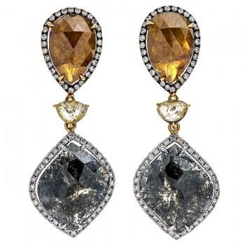 18K Two-tone Gold Fancy Diamond Earrings