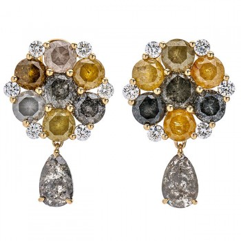 18K Yellow Gold Fancy Diamond Earrings