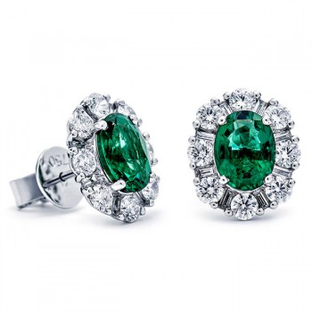 18K White Gold Emerald Studs