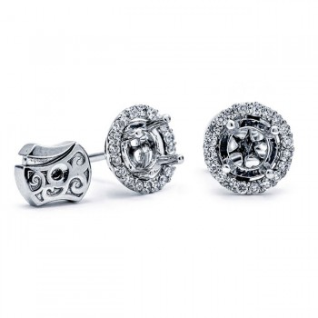 14K White Gold Semi-Mount for Round Center Studs