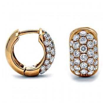 18K Rose Gold Diamond Huggies