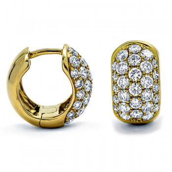 18K Yellow Gold Diamond Huggies