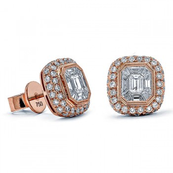 18K Rose Gold White Diamond Studs