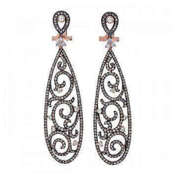 18K Black Rhodium Brown Diamond Earrings