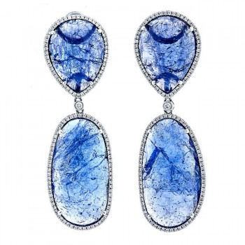 18K White Gold Tanzanite Slices Earrings