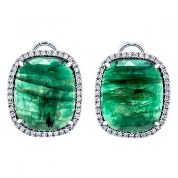 18K White Gold Fancy Emerald Slice Earrings