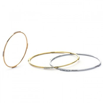 18K Tri-Color Gold Diamond Bangle Set