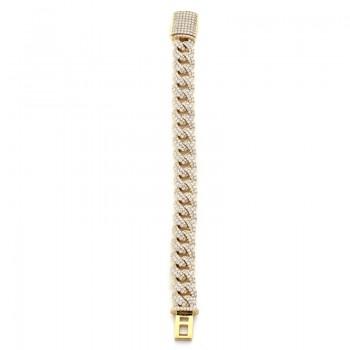 14K Yellow Gold Diamond Men's Bracelet
