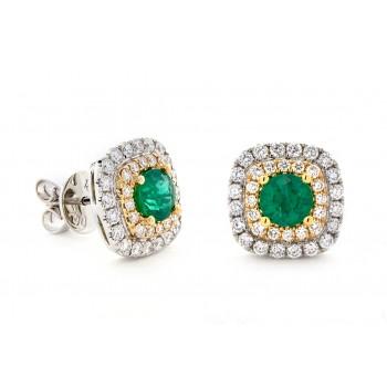 18K Two-tone Emerald Earrings
