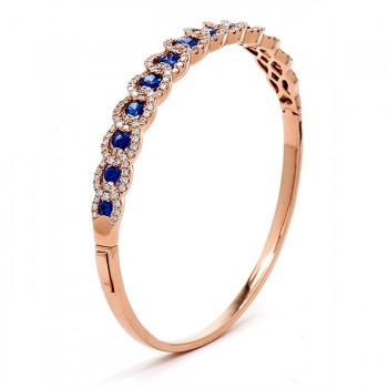 18K Rose Gold Sapphire Bangle