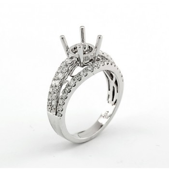 18K White Gold Semi-Mount for a 1.00ct Round Center