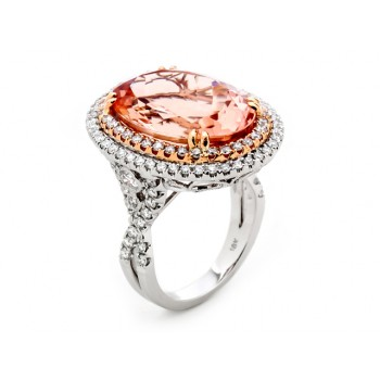 18K Two-tone Gold Morganite Ring