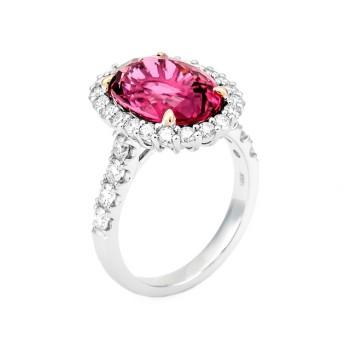 18K Two-tone Pink Tourmaline Ring