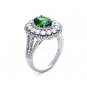 18K White Gold Tsavorite Ring