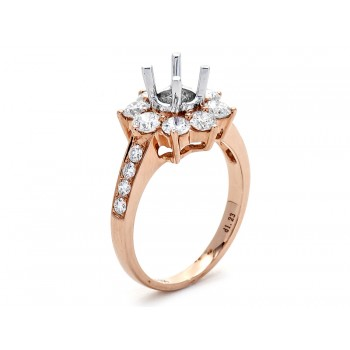 18K Two-tone Gold Semi-Mount for a 0.65ct Round Center