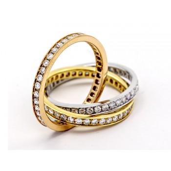 18K Tri- Color Gold Diamond Band