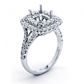 18K White Gold Semi-Mount for a 7x6mm Cushion Center