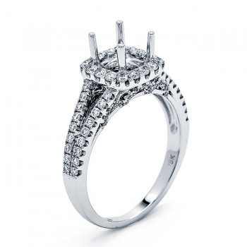 18K White Gold Semi-Mount for a 0.65ct Round Center