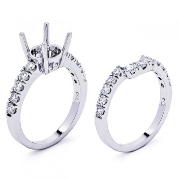 18K White Gold Semi-Mount Set for a 1.25ct Round Center