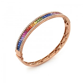 18K Yellow Gold Fancy Sapphire Bangle