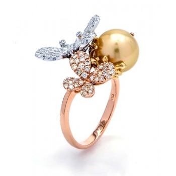 18K Tri-Color Gold Pearl Ring