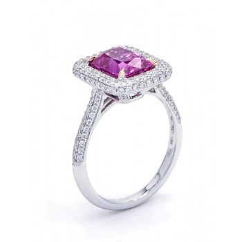 18K Two-tone Pink Sapphire Ring