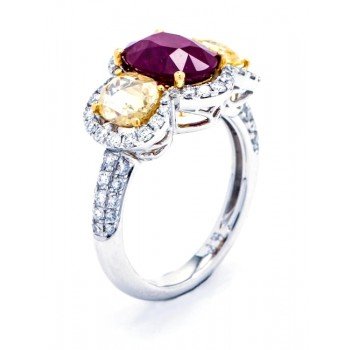 18K Two-tone Ruby and Yellow Diamond Ring