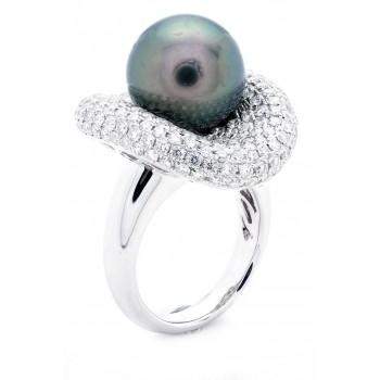 18K White Gold Pearl Ring