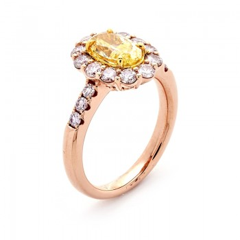 18K Rose Gold Yellow Diamond Ring