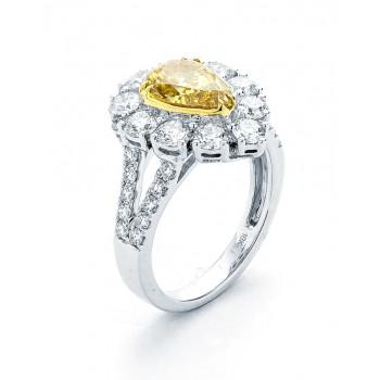 18K Two-Tone Yellow Diamond Ring