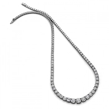 18K White Gold Tennis Necklace