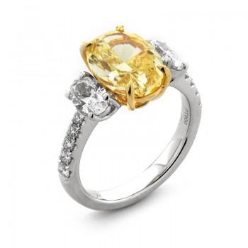 Platinum and 18K Yellow Gold Yellow Diamond Ring