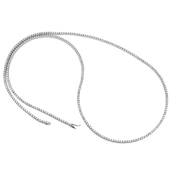 18K White Gold Opera Tennis Necklace