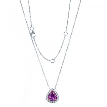 18K Two-tone Purple Sapphire Necklace