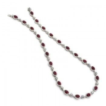 18K White Gold Burma Rubies Necklace