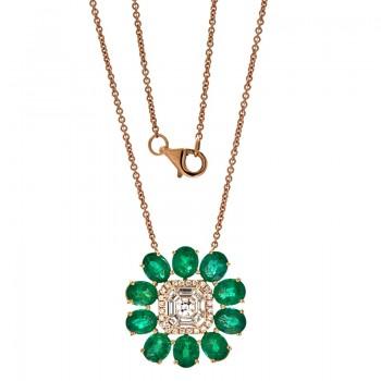 18K Rose Gold Emerald Necklace