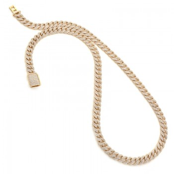 18K Yellow Gold Diamond Men's Necklace