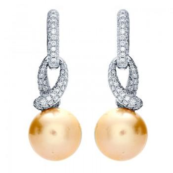18K White Gold Pearl Earrings