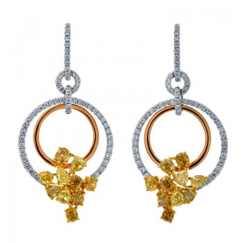 18K Tri-Color Gold Yellow Diamond Earrings