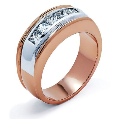 18K Two-tone Diamond Men's Band