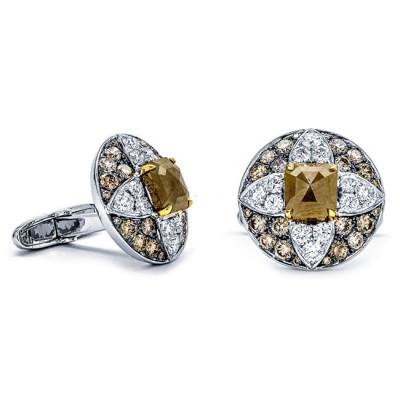 18K Two-tone Gold Fancy Diamond Cufflinks
