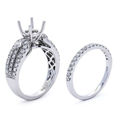 18K White Gold Semi-Mount Set for a 1.00ct Round Center