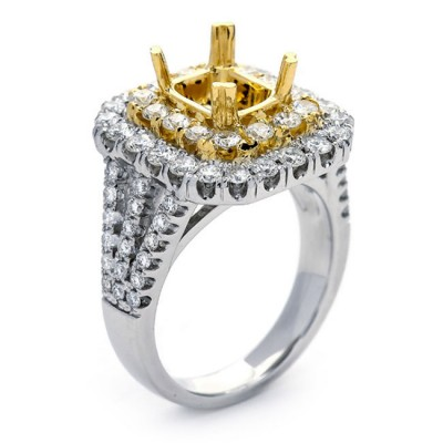 18K Two-tone Gold Semi-Mount for a 2.00ct  Princess Cut Center