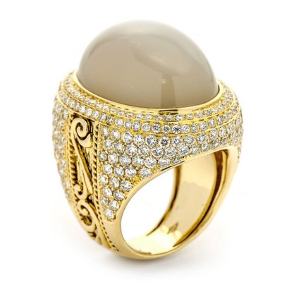 18K Yellow Gold Silver Grey Moonstone and White Diamond Ring